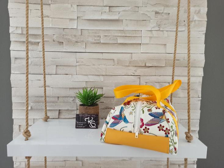 Lunch bag isotherme simili cuir colibris blanc et jaune
