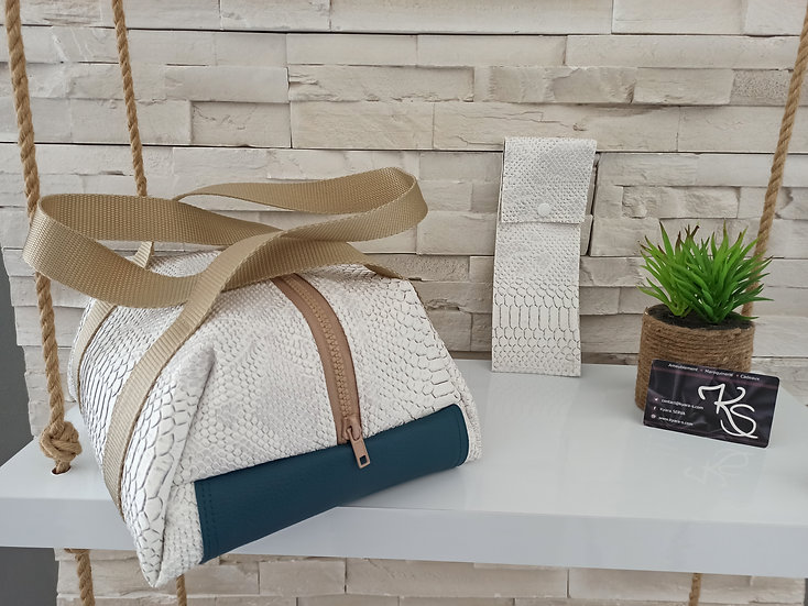 Lunch bag isotherme simili cuir blanc comodo et bleucanard