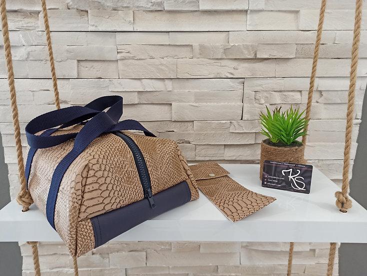 Lunch bag isotherme simili cuir comodo beige et bleu marine