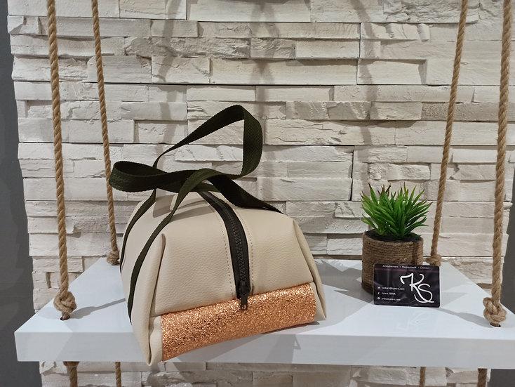 Lunch bag isotherme simili cuir beige, saumon brillant et sangle kaki