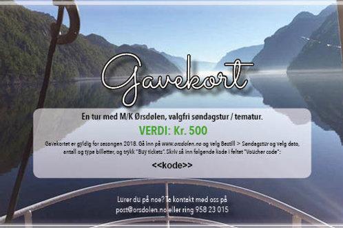 Gavekort M/K Ørsdølen (verdi kr. 500)