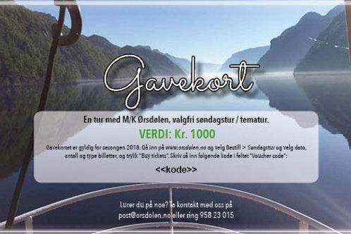 Gavekort M/K Ørsdølen (verdi kr. 1000)