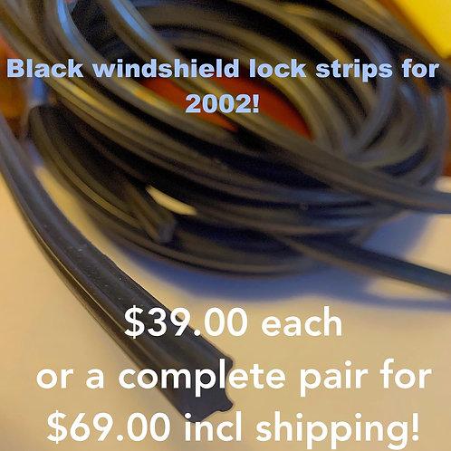 BLACK windshield lock strip SET