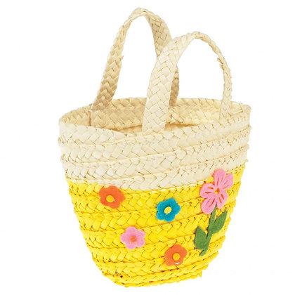 Yellow Woven Flower Basket