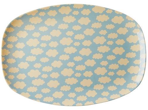 Melamine Rectangular Plate with Cloud Print