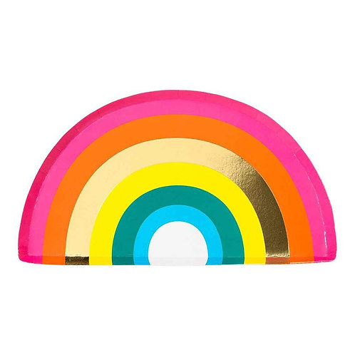 RAINBOW SHAPED PLATE, WITH FOIL (12PK)