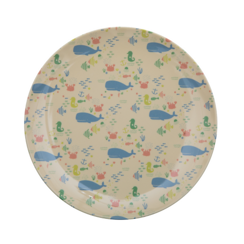 Melamine Kids Lunch Plate with Ocean Life Print