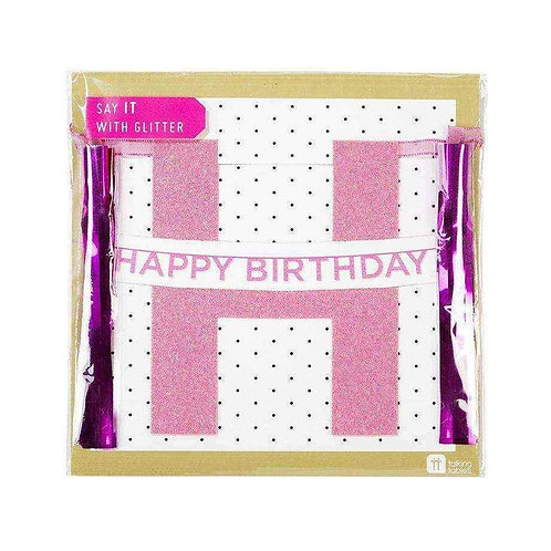 Say It With Glitter Pink Happy Birthday Banner