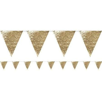 LUXE GOLD GLITTER BUNTING. 3M.
