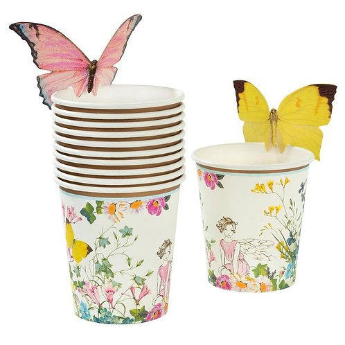 TRULY FAIRY CUPS WITH BUTTERFLY TRIM PK12