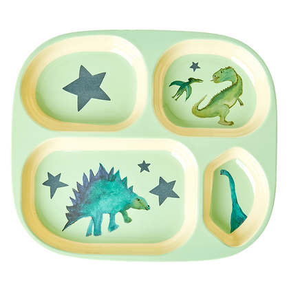 Melamine Kids 4 Room Plate with Dino Print