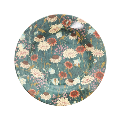 Melamine Side Plate with Fall Flower Print