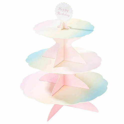 WE HEART PASTEL 3 TIER REVERSIBLE CAKESTAND WITH x 4 TOPPERS