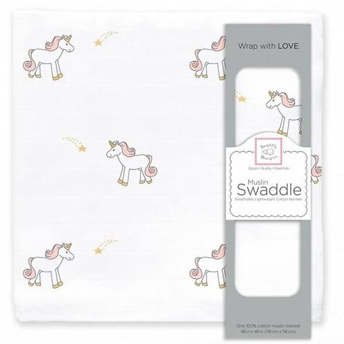 Muslin - Swaddle Single - Unicorn - Pastel Pink