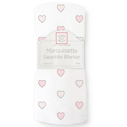 Marquisette Swaddle Blanket - Aimee - Pink Soft Black