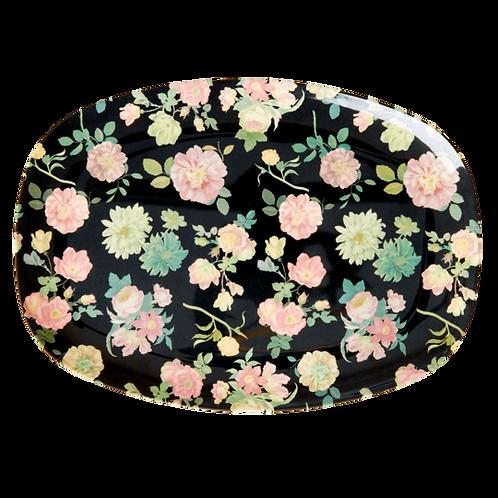 Melamine Rectangular Plate with Dark Rose Print