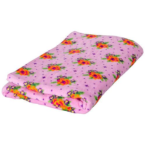 Bath Towel with Cross Stitch Rose Print - Pink