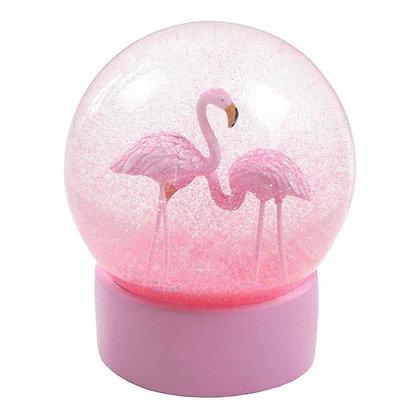 WE HEART FLAMINGO SNOW GLOBE