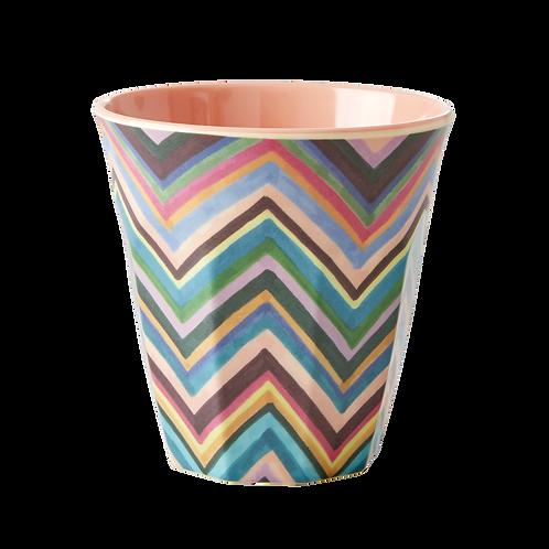 Melamine Cup with Zig Zag Print - Two Tone - Medium