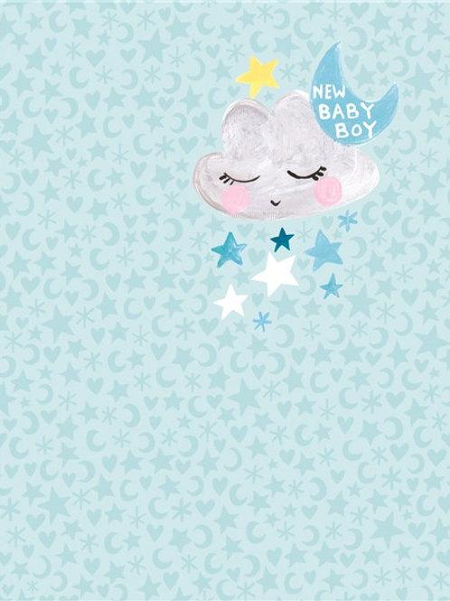 CARD - Pixie New Baby Boy Moon & Stars