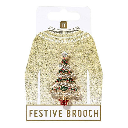 CHRISTMAS TREE ENAMEL BADGE