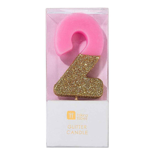 WE HEART BIRTHDAYS GLITTER NUMBER CANDLE 2