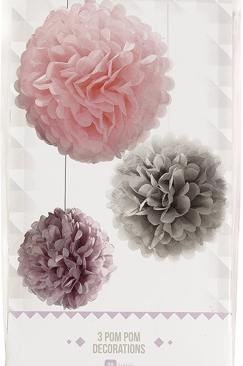 Decadent Decs Olso Mix Size Pom Poms Party Decoration (3 Pack), Multicolor