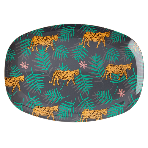 Rectangular Melamine Plate with Leopard and Leaves Print