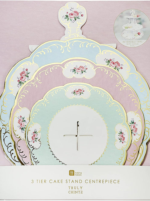 TRULY CHINTZ 3 TIER REVERSIBLE CAKE STAND WITH GOLD FOIL
