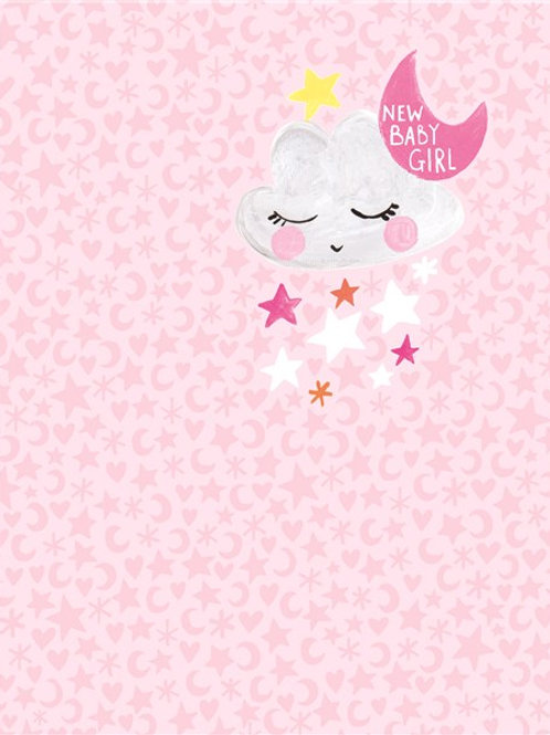 CARD - Pixie New Baby Girl Moon & Stars