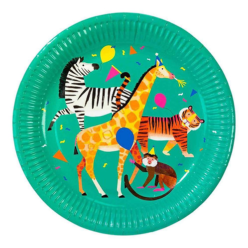 PARTY ANIMALS PLATE 23CM 8PK