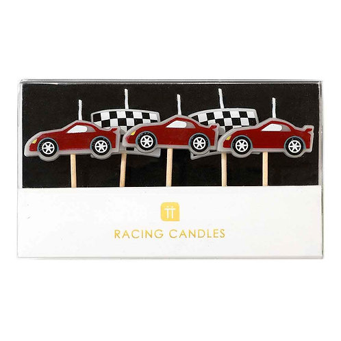 PARTY RACER CAR SHAPED CANDLES 5PK