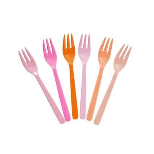 Melamine Cake Forks in Assorted Colors - Pink and Orange - Bundle of 6