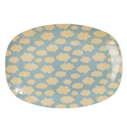 Melamine Rectangular Plate with Cloud Print - Small
