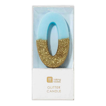 WE HEART BIRTHDAYS GLITTER NUMBER CANDLE 0, BLUE
