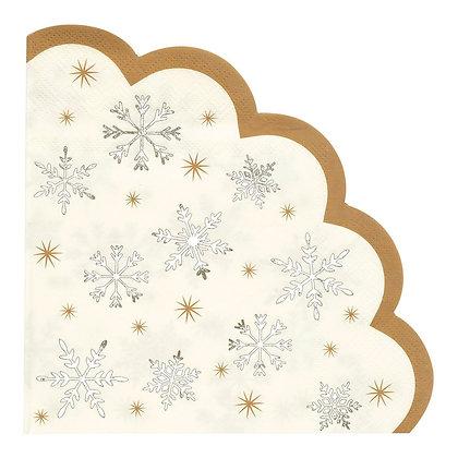 SCALLOPED SNOWFLAKE NAPKIN 16 PACK