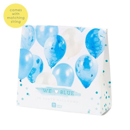 WE HEART BLUE MARBLE BALLOONS 12PK