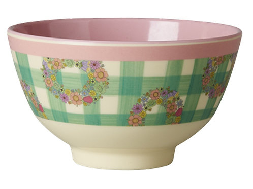 Melamine Bowl Two Tone with Vichy Print