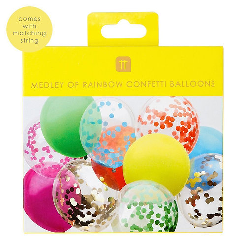 RAINBOW CONFETTI BALLOONS (7 FILLED, 5 SOLID COLOUR)