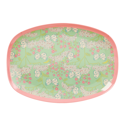 Melamine Rectangular Plate with Butterfly and Flower Print