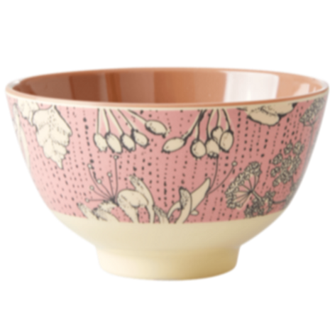 Melamine Bowl with Wild Chervil Print - Two Tone - Medium