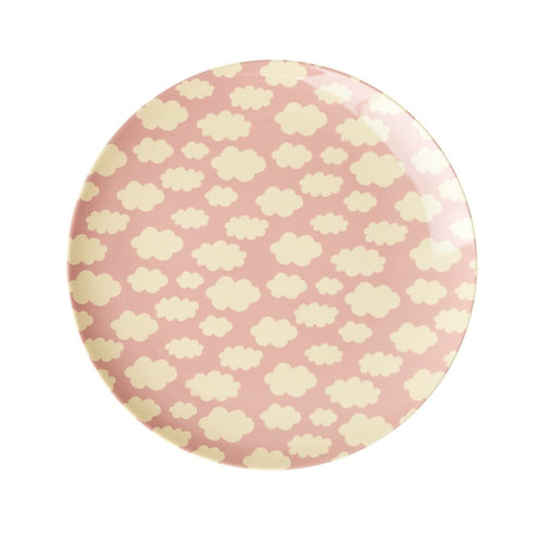 Melamine Kids Lunch Plate with Cloud Print - Pink