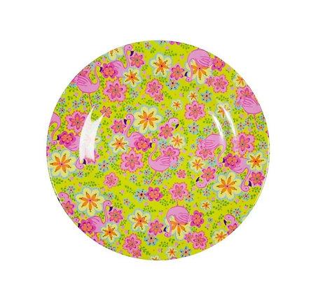 Melamine Side Plate with Flamingo Print - Two Tone