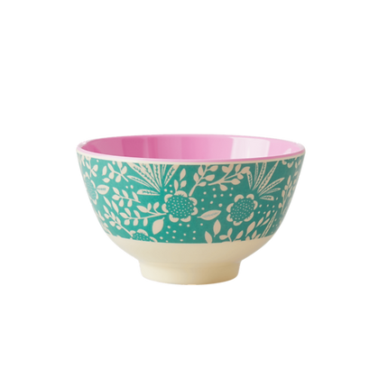 Melamine Bowl with Ferns and Flower Print - Two Tone - Small