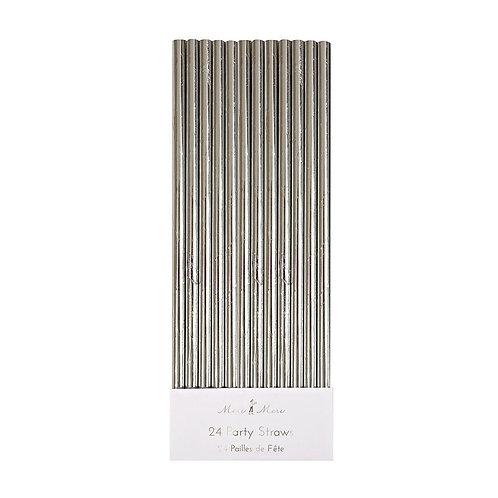 Silver Foil Straws S/24