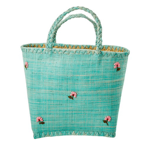 Raffia Fantasy Bag with Embroidery - Green - large