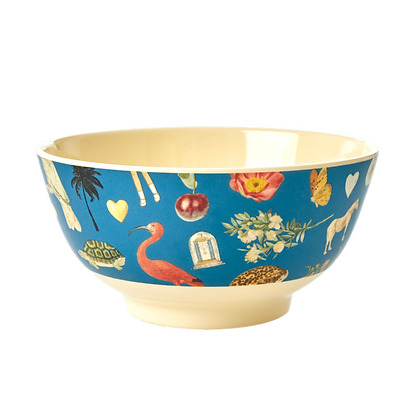 Melamine Bowl with Blue Art Print - Medium - Joelle