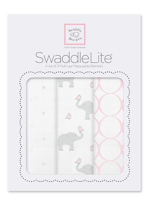 Swaddle Lite - Elephants and Chickies - Pastel Pink - 3pcs