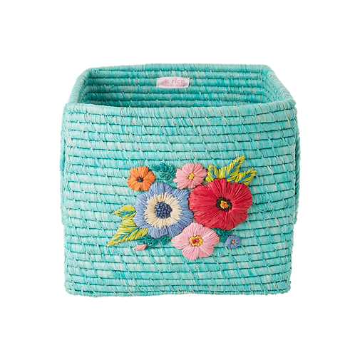 Raffia Square basket with Hand Embroidered  Flowers - Mint