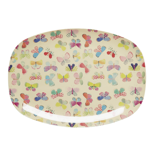 Melamine Rectangular Plate with Butterfly Print